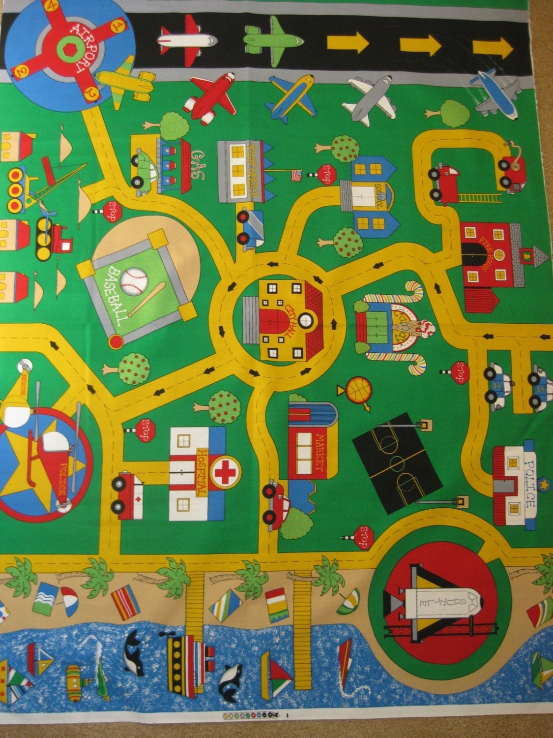 Play Mat Fabric Panel Car Plane Boat Town By Fabri Quilt