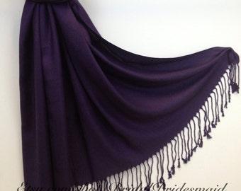 DARK EGGPLANT PASHMINA - eggplant shawl - bridal scarf - bridal shawl - bridesmaid gift - wedding gift - scarf - shawl - gift -