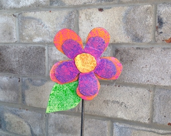 Metal Garden Art Flower Garden Stake Purple, Pink and Orange Flower