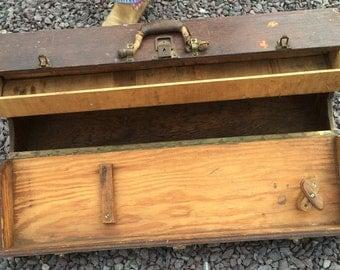 Old Vintage Wood Carpenter Tool Box
