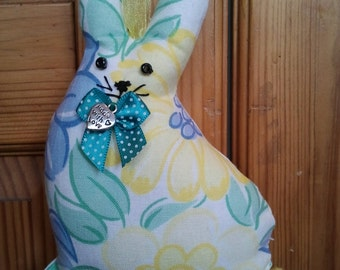 Hand made recycled floral print Fabric Bunny Rabbit hanging decoration filled with home grown lavender