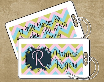 Chevron Luggage Tag, Personalized Laminated Luggage Tag, Camp Luggage Tags, Custom Bag Tag, Suitacase Tag, Back to School Tags, Pastel Tag