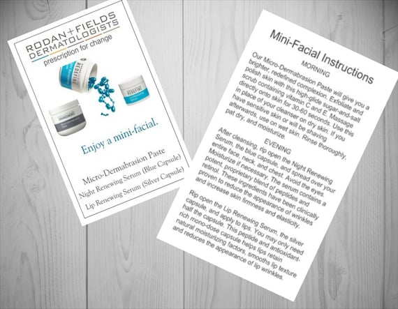 Instruction Cards for MiniFacial Sample by RFConsultants on Etsy