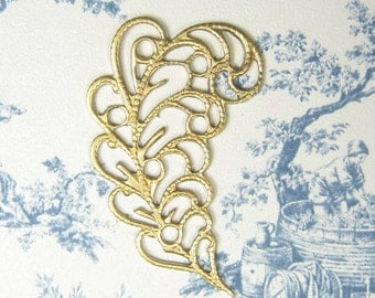 Brass Leaf Plume Connector Raw Brass Leaf Filigree 3-117-R