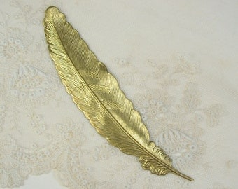 Large Quill Feather Stamping Raw Brass Feathers 4-108-R