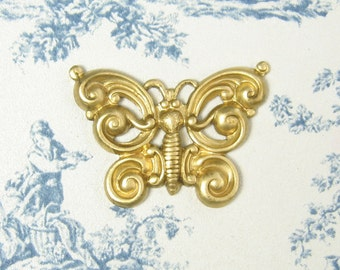 Brass Butterfly Stamping Unplated Brass 2-152-R