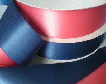 """Coral navy satin ribbon, 1.5"""" width, 4 yards total, 2 yards of each, double-sided satin"""