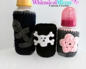 Crochet Baby Bottle Cover 2 Piece Set Choice of Anchor - Flower - or Skull, Baby Shower Gift, Baby Gift Set, Bottle Cozy