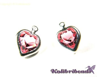 2x Swarovski Heart 10 mm with Silverplated Setting - Light Rose