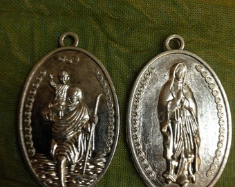 St Christopher  / Blessed Mother Pendant