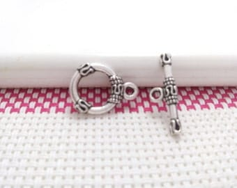 12 sets  round Shape 13mm  Tibetan Silver Tone  Toggle Clasp for Bracelet or Necklace