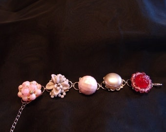 Gorgeous pink and white bracelet made from vintage clip-on earrings