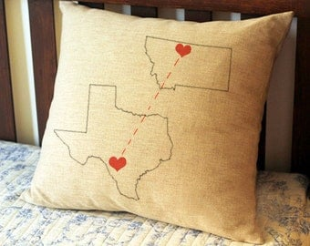 Custom state to state map pillow cover, Long Distance Boyfriend, custom pillow, best friend gift, long distance relationship, us map  3215