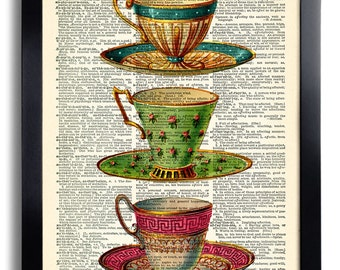 Cups Tea Cup Coffee Art Print Vintage Book Print Recycled Vintage Dictionary Page Collage Repurposed Book Upcycled Dictionary 051