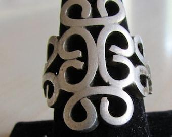 Huge Adjustable Sterling Silver Ring  Size 11 now.