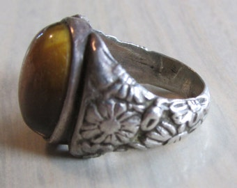 Sterling Silver Tigereye Ring.  Size 6.5