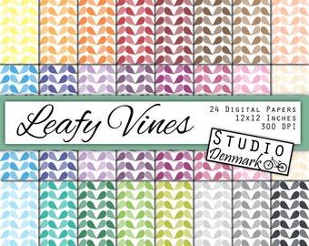 Leafy Vines Digital Paper - 24 Colors Leaf Digital Paper - Commercial Use - 12in x 12in - Instant Download Leaves Digital Paper