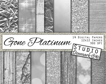 "Silver Digital Paper - ""Gone Platinum"" - Silver Foil / Glitter / Bokeh / Wood - Commercial Use Silver Backgrounds - Instant Download"