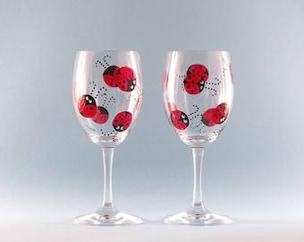 Hand Painted Ladybug Wine Glasses - Painted Ladybug Wine Glass - Set of Two