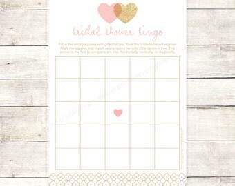 bridal shower bingo game card printable DIY pink gold glitter hearts wedding shower bingo bridal shower digital games - INSTANT DOWNLOAD