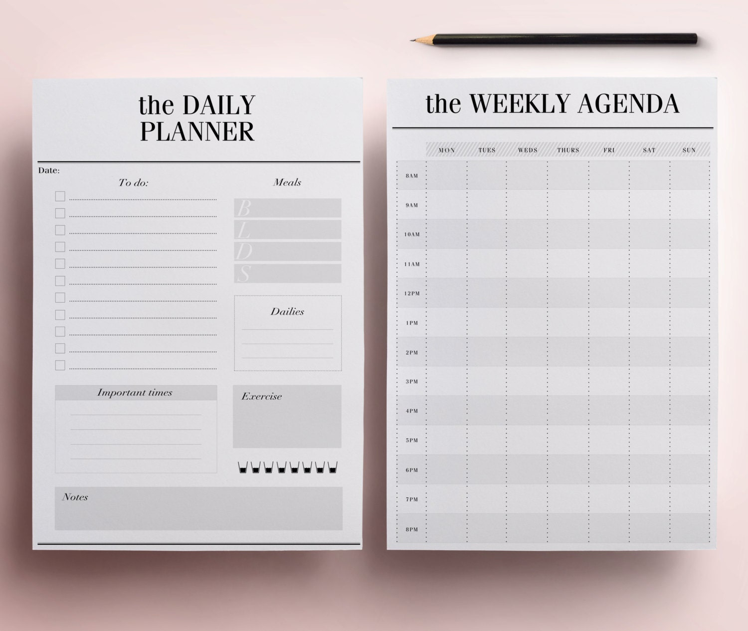 Planner printable a5 pack 13 modern organizer pages including for Designer planners