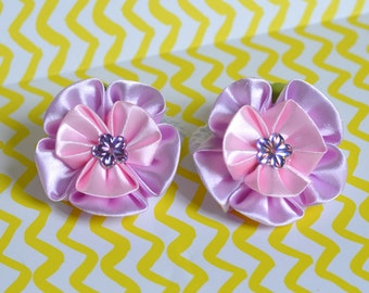 2 × Cute Flowers Ponytails, Pink Floral Hair Accessories with Kanzashi Flowers
