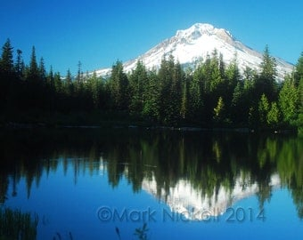 Mt. Hood Reflection 2, Oregon USA Photograph Mountain Nature Photography Mirror Lake, Mountain Lake Reflection, Pacific Northwest