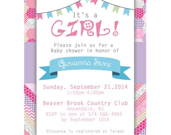 Baby shower pink patchwork 5x7 invitation digital