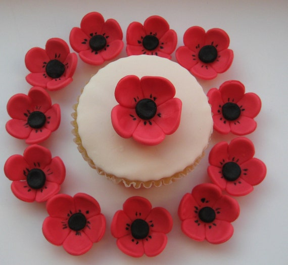 Cake Decorations Flowers Uk : Edible Sugar Icing Red Poppy Flower Cupcake Cake Decorations