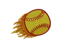 Softball with Double Flames Machine Embroidery Design - 2 sizes