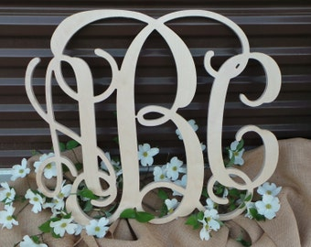 Unfinished Wooden Monogram - Three Letter Monogram - Vine Script Monogram - Ready To Paint - Wedding Guest Book - Mother's Day Gift