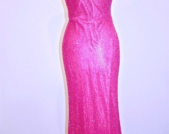 Hot, Hot, Hot Pink Beaded Gown