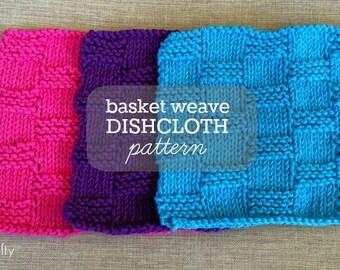 Knit Basket Weave Dishcloth Pattern, Knitted Dishcloth Pattern, Knitted Basket Weave Dishcloth, Washcloth - PDF DOWNLOAD / Digital File