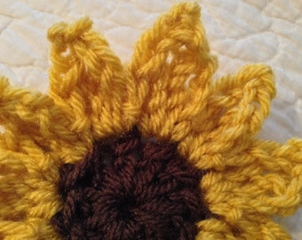Sunflower crochet PATTERN. PDF file with pictures and a detailed tutorial description . One of a kind.