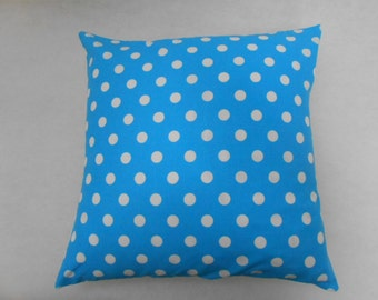 White Spots Polka Dots on Sky Blue Nursery Cushion Cover