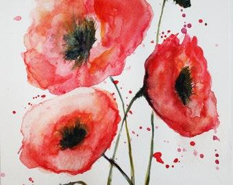 Poppies - Original Watercolor Painting, Red Flowers Watercolor Art 9 X 12 in
