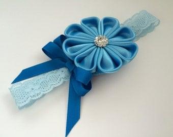 Light blue kanzashi flower headband