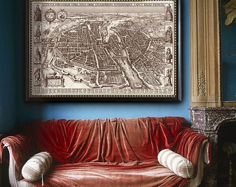 """OId Paris map 1618, Map of Paris in 4 sizes up to 54x36"""" (140x90 cm) Historical plan of Paris, France in sepia - Limited Edition of 100"""