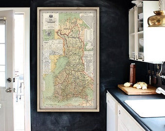 "Map of Finland 1881, Old Finland map in 3 sizes up to 36x63"" (90x160 cm) Large vintage map of Finland, Suomi - Limited Edition of 100"