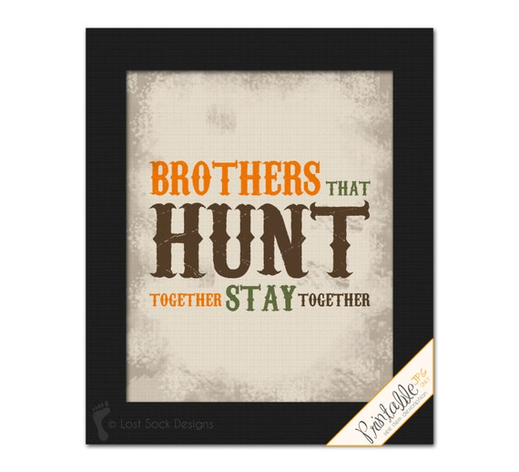 Items Similar To PRINTABLE: Hunting Themed Brothers That