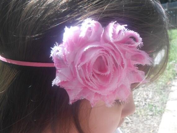 Stripe  Shabby  flower Baby Headband, Newborn Headband,  Infant Headband,Baby Headband, Headband Baby, White Baby Headband