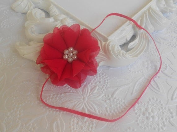 Red Chiffon Flower with Pearl Bead Focal Baby Headband, Newborn Headband,  Infant Headband,Baby Headband, Headband Baby, Baby Headband