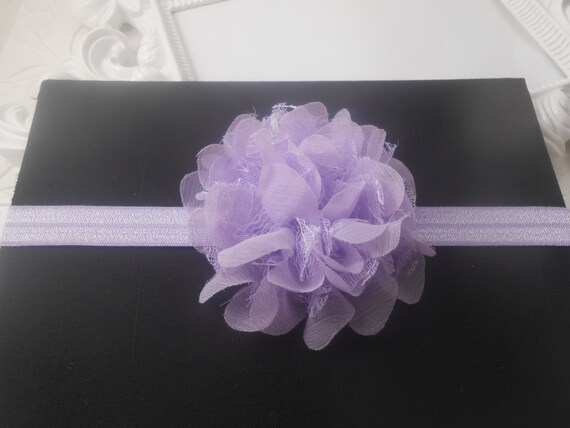 Violet  Frayed Lace,Chiffon flower Baby Headband, Newborn Headband,  Infant Headband,Baby Headband, Headband Baby, Baby Headband