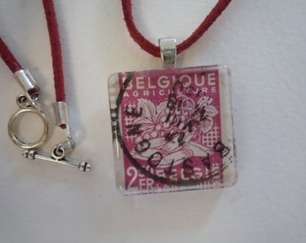 Pink Post Stamp Necklace
