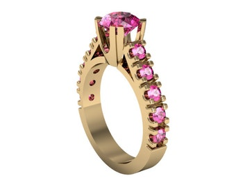 14k Yellow Gold Pink Sapphire Ring, Solitaire Ring, Custom Gold Ring, Wedding Ring, Proposal Ring, Anniversary Ring
