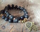 Hamsa Mala Bracelet with Lava Rock and Clear Quartz for Grounding and Healing. Yoga Bracelet. Prayer Bracelet. Meditation Beads.