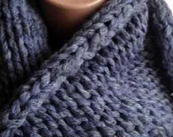 "Circle Scarf ""Comfort"", Knitting, Knitted Scarf, Knitting Scarf, Blue warm scarf, winter scarf, soft scarf, Volume scarf,Scarf of bulky yarn"
