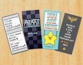 RETRO Video Game Inspired Bookmarks - Set of 4 Super Duper Pixel Art Bookmarks (Set 1)