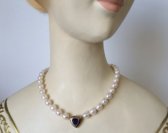 Freshwater Pearl Necklace with Amethyst Centerpiece