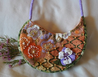 Handmade Embroidered and Beaded Purse #12